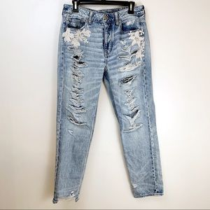 American Eagle High Rise Tomgirl Distressed Jeans